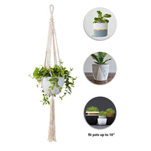 Load image into Gallery viewer, 2 Pcs Macrame Plant Holder In Different Designs Beige Details