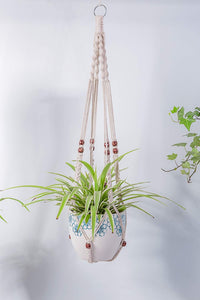 2 Pcs Macrame Plant Holder In Different Designs Beige For Garden