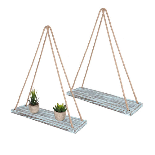 2 Pcs Wall Hanging Shelves Teal Blue Jute Rope Floating Shelves