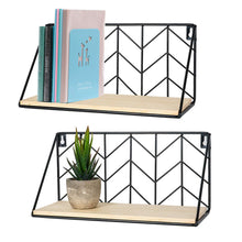 Load image into Gallery viewer, 2 Pcs Wall Mounted Book Shelves Room Wall Decor