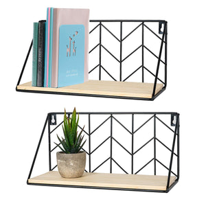 2 Pcs Wall Mounted Book Shelves Room Wall Decor