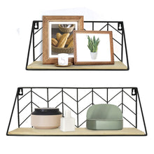 Load image into Gallery viewer, 2 Pcs Wall Mounted Shelves Rustic Arrow Design Wood Storage