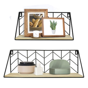 2 Pcs Wall Mounted Shelves Rustic Arrow Design Wood Storage
