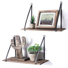 Load image into Gallery viewer, 2 Pcs Wood Floating Shelf with Metal Brackets Corner Storage Shelf