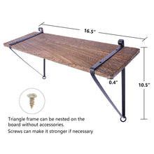 Load image into Gallery viewer, 2 Pcs Wood Floating Shelf with Metal Brackets Corner Storage Shelf Size