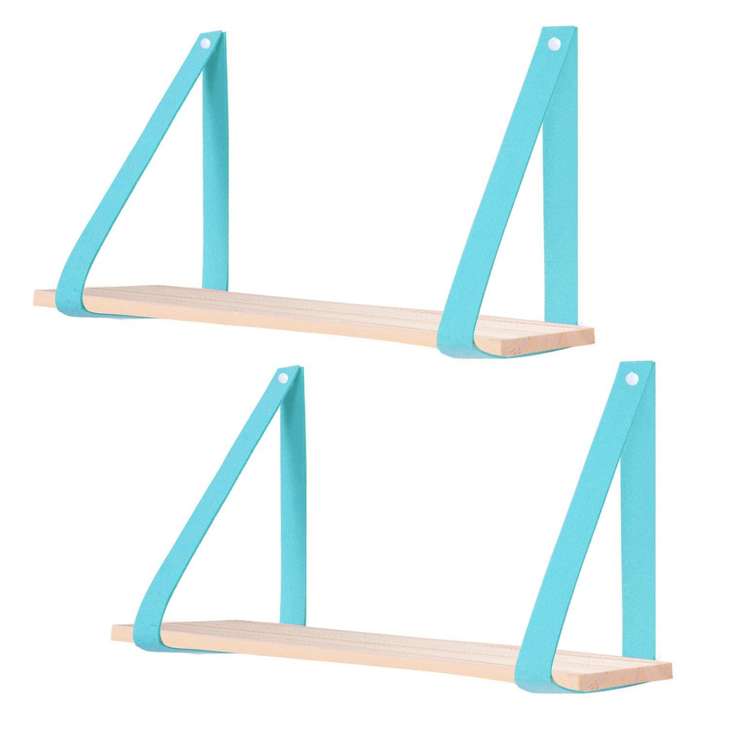 2 Pcs Wood Floating Shelves with Mintgreen Felt Straps