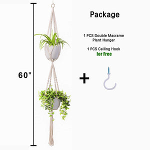 2 Tier Macrame Plant Hanger Indoor Flower Holder Size