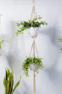 2 Tier Macrame Plant Hanger Modern Boho Home Decor Wall Decor