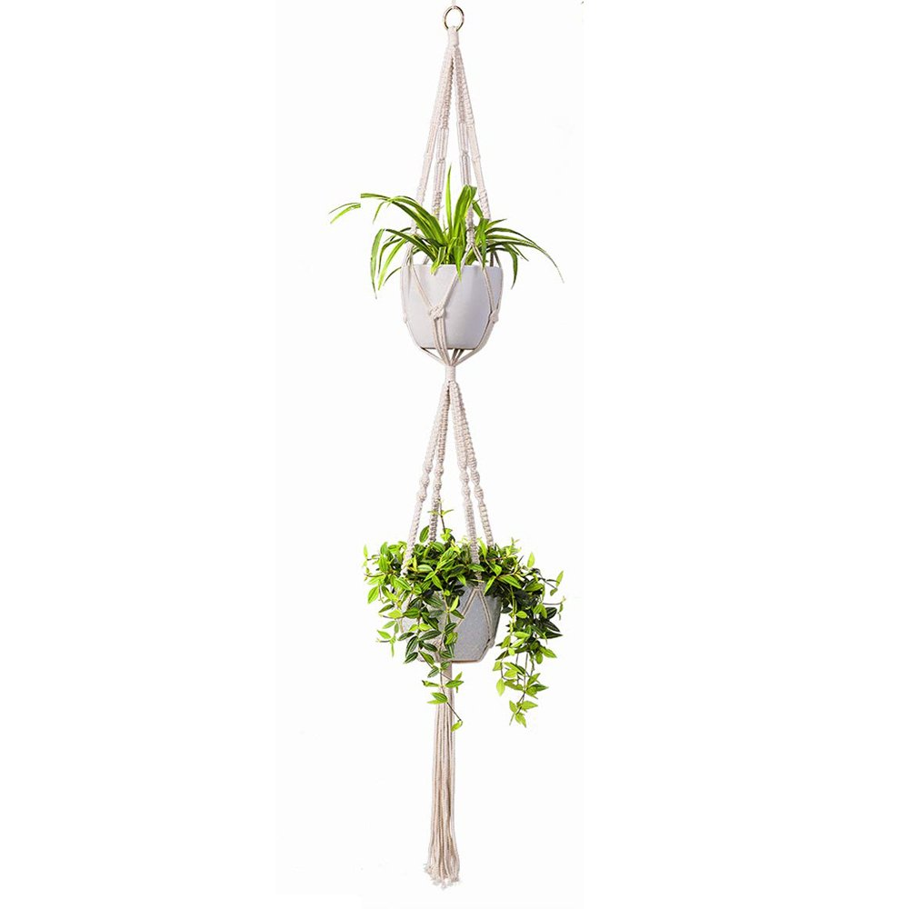2 Tier Macrame Plant Hanger Indoor Flower Holder