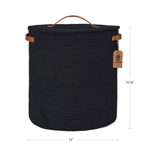 Tall Hamper with Lid Black Laundry Basket