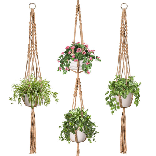 3 Pcs Jute Handmade Hanging Plant Holders