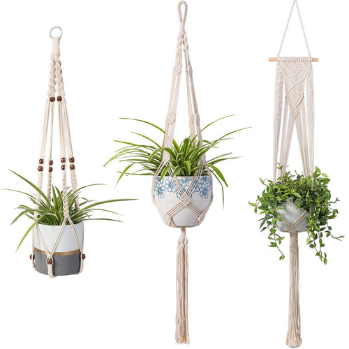 3 Pcs Rope Plant Hanger in Different Designs Handmade Planter