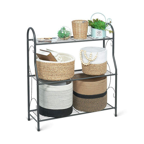 3 Tier Metal Plant Stand for Flower Pots Patio Outdoor Storage Rack Shoe Organizer