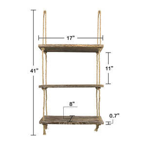 3 Tier Wall Shelves Rustic Home Wall Decor Brown Size