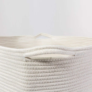Baby Laundry Basket XXXLarge Cotton Rope Basket Storage Bins White 21.7 x 13.8 in Well-Crafted Stitching