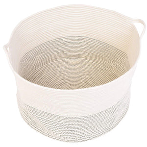 Baby Laundry Basket XXXLarge Cotton Rope Basket Storage Bins White 21.7 x 13.8 in Baskets with handle