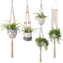 Load image into Gallery viewer, 4 Pcs Handmade Macrame Plant Hanger DIY Home Decor