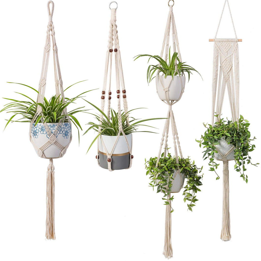 4 Pcs Handmade Macrame Plant Hanger DIY Home Decor