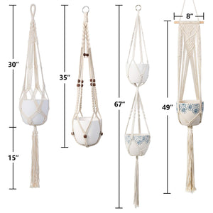 4 Pcs Handmade Macrame Plant Hanger DIY Home Decor Size