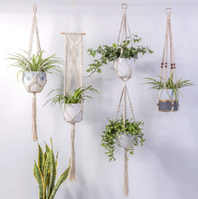 Load image into Gallery viewer, 4 Pcs Handmade Macrame Plant Hanger DIY Home Decor Indoor Decor