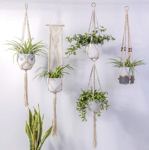 4 Pcs Handmade Macrame Plant Hanger DIY Home Decor Indoor Decor
