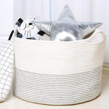 Load image into Gallery viewer, Baby Laundry Basket XXXLarge Cotton Rope Basket Storage Bins White 21.7 x 13.8 in Throw Pillow Organizer