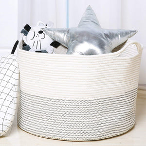 Baby Laundry Basket XXXLarge Cotton Rope Basket Storage Bins White 21.7 x 13.8 in Throw Pillow Organizer