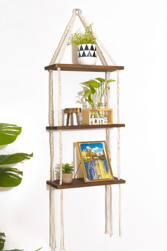 Macrame 3 Tier Shelf Hanging Shelves