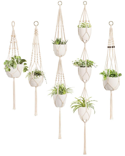 5 Pack Different Designs Handmade Indoor Wall Hanging Planter