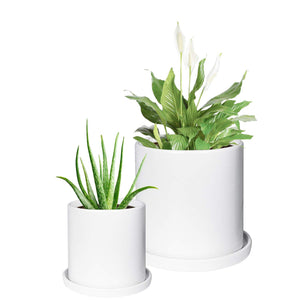 2 Pcs Mid Century Ceramic Plant Pots Indoor Decor White