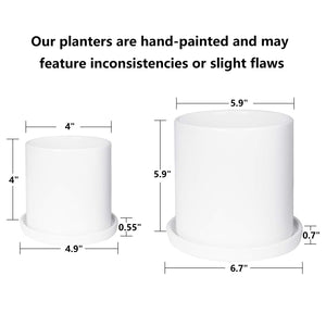 2 Pcs Mid Century Ceramic Plant Pots Indoor Decor White Size