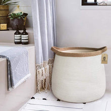 "Load image into Gallery viewer, Wicker Storage Rope Basket with Handles 17.71"" x 17.71"""