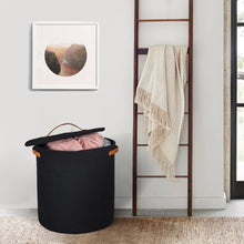 Load image into Gallery viewer, Tall Hamper with Lid Black Laundry Basket