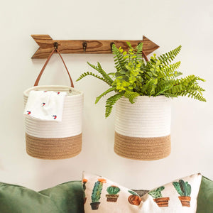 2 Pack Jute Rope Hanging Woven Basket