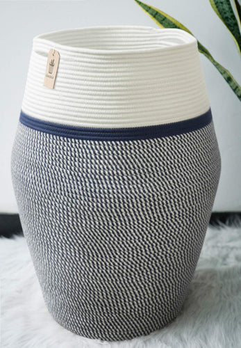 Large Wicker Hamper Dark Blue