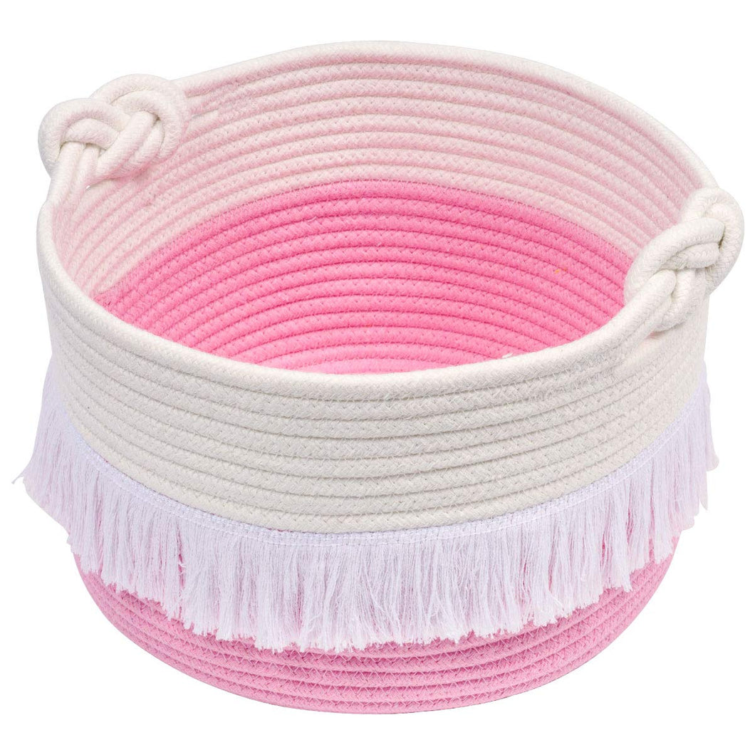 Small Pink Decorative Woven Basket