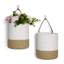 Load image into Gallery viewer, 2 Pack Jute Rope Hanging Woven Basket