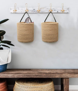 Small Jute Rope Hanging Basket For Living Room