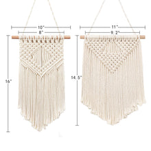 Load image into Gallery viewer, 2 Pcs Macrame Wall Hanging Small Woven Tapestry Beige Size