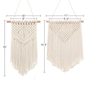 2 Pcs Macrame Wall Hanging Small Woven Tapestry Beige Size