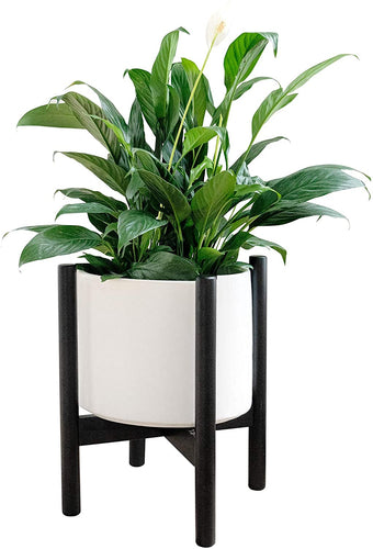 Mid Century Plant Stand - Up to 10'' Flower Pot Wood Indoor Planter Holder