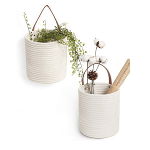 Small Cotton Rope Hang Basket White 2 Pack