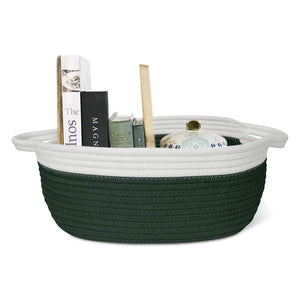 Cute Green Rope Basket Toy Chest Box with Handles