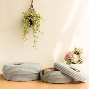 2 Pack Cute Lidded Round Small Basket