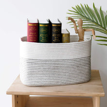 Load image into Gallery viewer, Cotton Rope Storage Basket Rectangle Storage Bin
