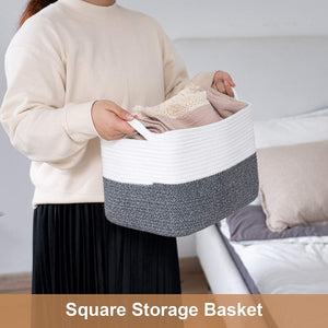 White and Grey Woven Storage Basket for Shelves 13''x9.8''x9''