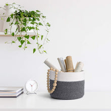 Load image into Gallery viewer, Small Grey Cotton Rope Basket
