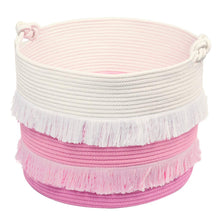 Load image into Gallery viewer, Large Pink Decorative Woven Basket for Toys