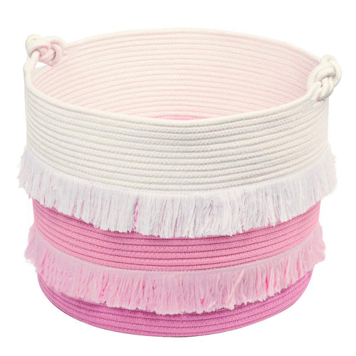 Large Pink Decorative Woven Basket for Toys