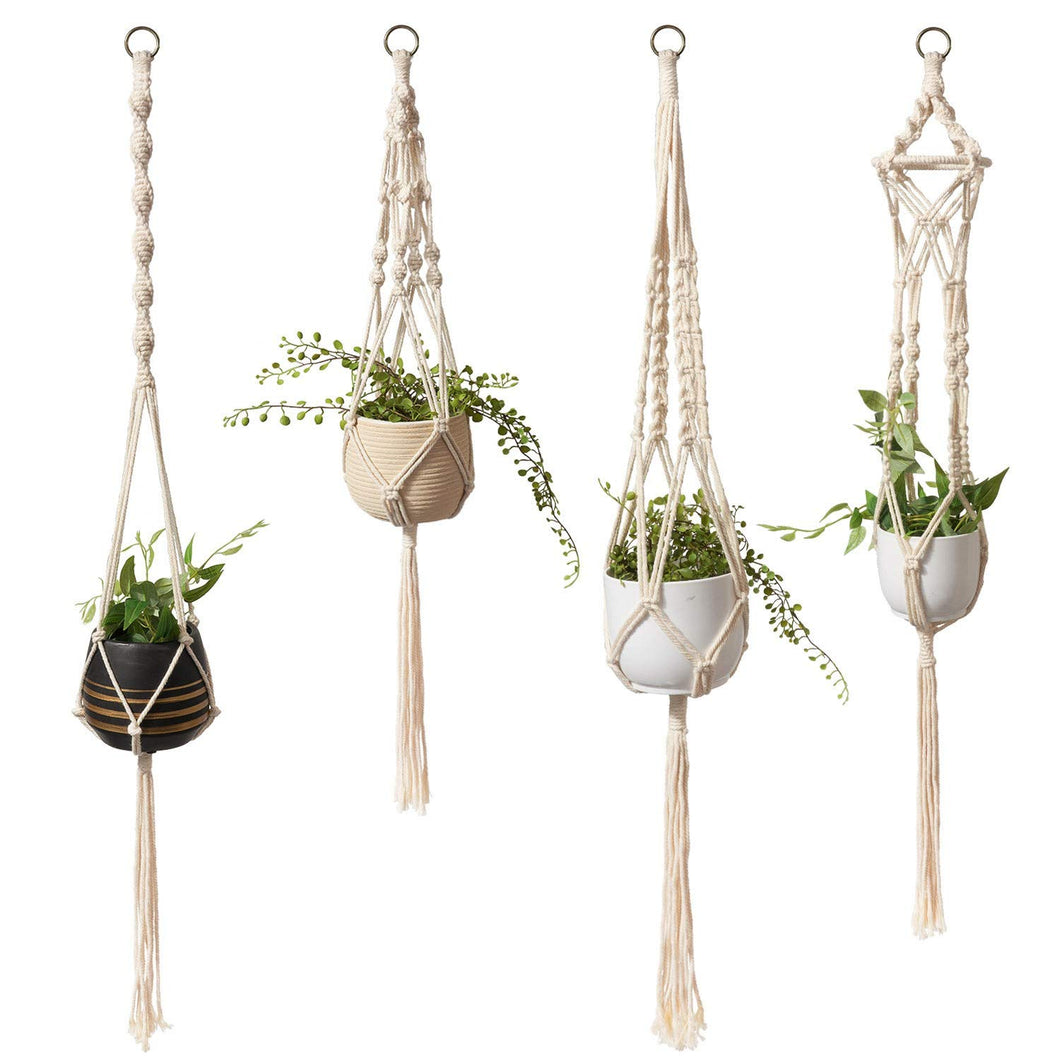 Boho Macrame Plant Hangers Set of 4